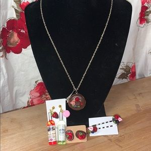 """18"""" French Macaroon Necklace w/Earrings*Hair Pins"""